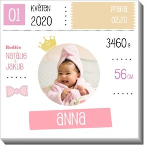 Obrázek s údaji o narození miminka - ke křtinám